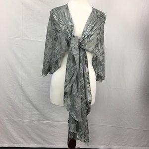 Betsey Johnson Gray Sheer Floral Print Shawl/Wrap